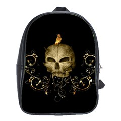 Golden Skull With Crow And Floral Elements School Bag (xl)