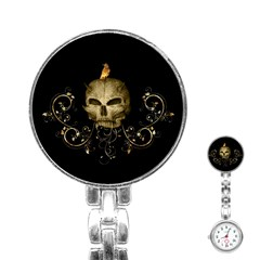 Golden Skull With Crow And Floral Elements Stainless Steel Nurses Watch