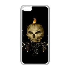 Golden Skull With Crow And Floral Elements Apple Iphone 5c Seamless Case (white)