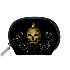 Golden Skull With Crow And Floral Elements Accessory Pouches (small)