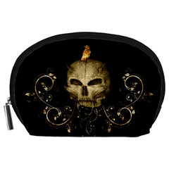 Golden Skull With Crow And Floral Elements Accessory Pouches (large)