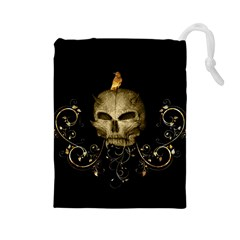 Golden Skull With Crow And Floral Elements Drawstring Pouches (large)