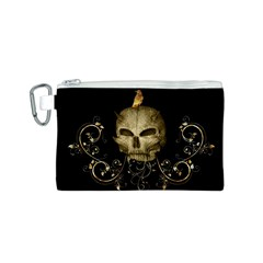 Golden Skull With Crow And Floral Elements Canvas Cosmetic Bag (s)