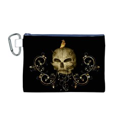 Golden Skull With Crow And Floral Elements Canvas Cosmetic Bag (m)