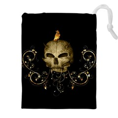 Golden Skull With Crow And Floral Elements Drawstring Pouches (xxl)