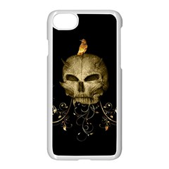 Golden Skull With Crow And Floral Elements Apple Iphone 7 Seamless Case (white)