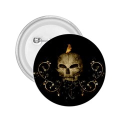 Golden Skull With Crow And Floral Elements 2 25  Buttons