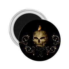 Golden Skull With Crow And Floral Elements 2 25  Magnets