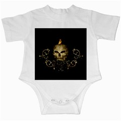Golden Skull With Crow And Floral Elements Infant Creepers