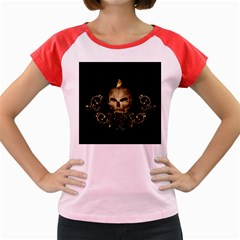 Golden Skull With Crow And Floral Elements Women s Cap Sleeve T Shirt