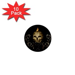 Golden Skull With Crow And Floral Elements 1  Mini Magnet (10 Pack)