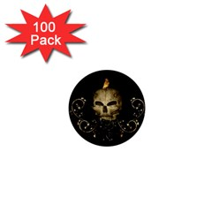 Golden Skull With Crow And Floral Elements 1  Mini Buttons (100 Pack)
