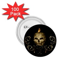 Golden Skull With Crow And Floral Elements 1 75  Buttons (100 Pack)