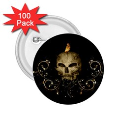 Golden Skull With Crow And Floral Elements 2 25  Buttons (100 Pack)
