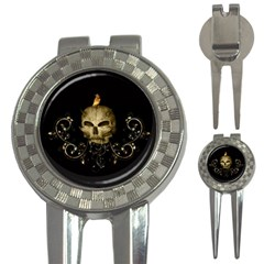 Golden Skull With Crow And Floral Elements 3 In 1 Golf Divots