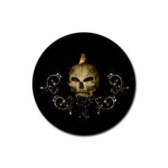 Golden Skull With Crow And Floral Elements Rubber Round Coaster (4 Pack)