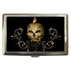 Golden Skull With Crow And Floral Elements Cigarette Money Cases