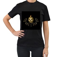Golden Skull With Crow And Floral Elements Women s T Shirt (black) (two Sided)