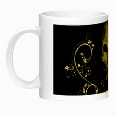 Golden Skull With Crow And Floral Elements Night Luminous Mugs