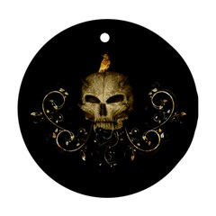 Golden Skull With Crow And Floral Elements Round Ornament (two Sides)