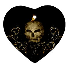 Golden Skull With Crow And Floral Elements Heart Ornament (two Sides)