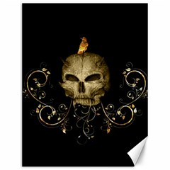 Golden Skull With Crow And Floral Elements Canvas 12  X 16