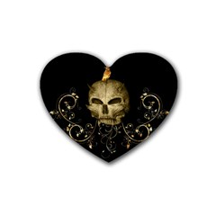 Golden Skull With Crow And Floral Elements Rubber Coaster (heart)