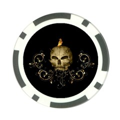 Golden Skull With Crow And Floral Elements Poker Chip Card Guard