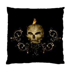 Golden Skull With Crow And Floral Elements Standard Cushion Case (two Sides)