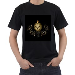 Golden Skull With Crow And Floral Elements Men s T Shirt (black)