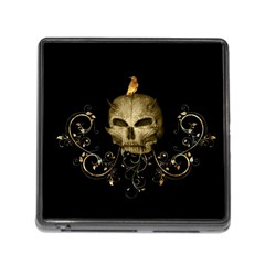 Golden Skull With Crow And Floral Elements Memory Card Reader (square)