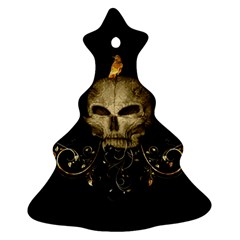 Golden Skull With Crow And Floral Elements Ornament (christmas Tree)