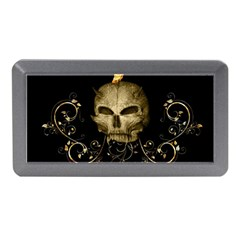 Golden Skull With Crow And Floral Elements Memory Card Reader (mini)