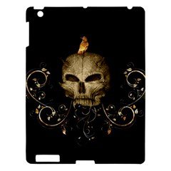 Golden Skull With Crow And Floral Elements Apple Ipad 3/4 Hardshell Case