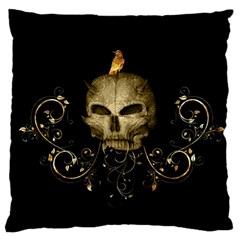 Golden Skull With Crow And Floral Elements Large Cushion Case (one Side)
