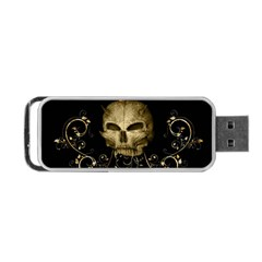 Golden Skull With Crow And Floral Elements Portable Usb Flash (one Side)