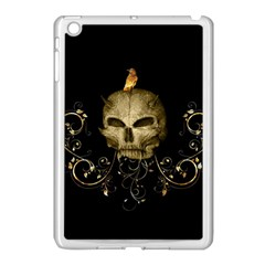 Golden Skull With Crow And Floral Elements Apple Ipad Mini Case (white)