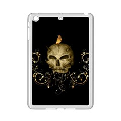 Golden Skull With Crow And Floral Elements Ipad Mini 2 Enamel Coated Cases