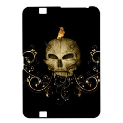 Golden Skull With Crow And Floral Elements Kindle Fire Hd 8 9