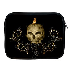 Golden Skull With Crow And Floral Elements Apple Ipad 2/3/4 Zipper Cases