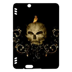 Golden Skull With Crow And Floral Elements Kindle Fire Hdx Hardshell Case