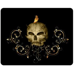 Golden Skull With Crow And Floral Elements Double Sided Fleece Blanket (medium)