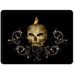 Golden Skull With Crow And Floral Elements Double Sided Fleece Blanket (large)