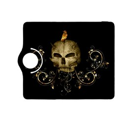 Golden Skull With Crow And Floral Elements Kindle Fire Hdx 8 9  Flip 360 Case