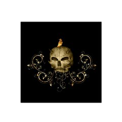 Golden Skull With Crow And Floral Elements Satin Bandana Scarf