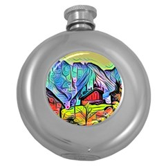 Magic Cube Abstract Art Round Hip Flask (5 Oz)