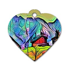 Magic Cube Abstract Art Dog Tag Heart (one Side)