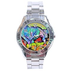 Magic Cube Abstract Art Stainless Steel Analogue Watch