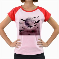 Bats On  The Moon Women s Cap Sleeve T Shirt