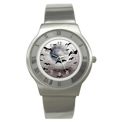 Bats On  The Moon Stainless Steel Watch
